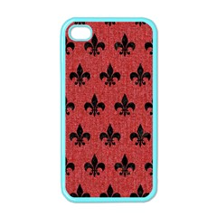 Royal1 Black Marble & Red Denim (r) Apple Iphone 4 Case (color) by trendistuff