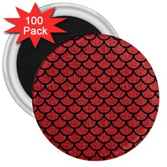 Scales1 Black Marble & Red Denim 3  Magnets (100 Pack) by trendistuff