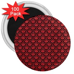 Scales2 Black Marble & Red Denim 3  Magnets (100 Pack) by trendistuff