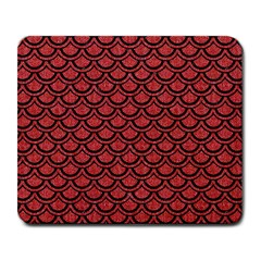 Scales2 Black Marble & Red Denim Large Mousepads by trendistuff