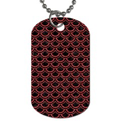 Scales2 Black Marble & Red Denim (r) Dog Tag (one Side) by trendistuff