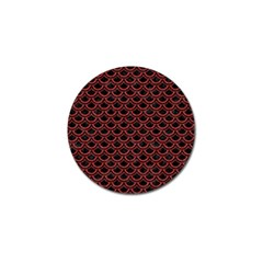 Scales2 Black Marble & Red Denim (r) Golf Ball Marker by trendistuff
