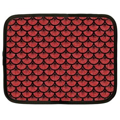 Scales3 Black Marble & Red Denim Netbook Case (xxl)  by trendistuff