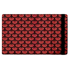 Scales3 Black Marble & Red Denim Apple Ipad 3/4 Flip Case by trendistuff