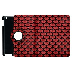Scales3 Black Marble & Red Denim Apple Ipad 3/4 Flip 360 Case by trendistuff