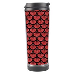 Scales3 Black Marble & Red Denim Travel Tumbler by trendistuff