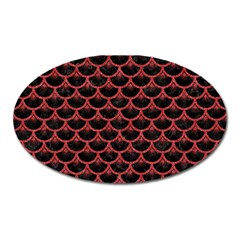 Scales3 Black Marble & Red Denim (r) Oval Magnet by trendistuff