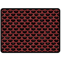 Scales3 Black Marble & Red Denim (r) Double Sided Fleece Blanket (large)  by trendistuff