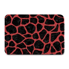 Skin1 Black Marble & Red Denim Plate Mats by trendistuff