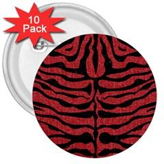 Skin2 Black Marble & Red Denim 3  Buttons (10 Pack)  by trendistuff
