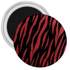 Skin3 Black Marble & Red Denim (r) 3  Magnets by trendistuff