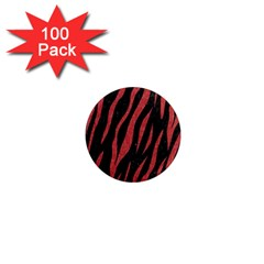 Skin3 Black Marble & Red Denim (r) 1  Mini Magnets (100 Pack)