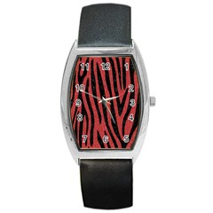Skin4 Black Marble & Red Denim (r) Barrel Style Metal Watch by trendistuff