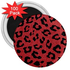 Skin5 Black Marble & Red Denim (r) 3  Magnets (100 Pack) by trendistuff