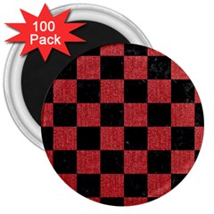 Square1 Black Marble & Red Denim 3  Magnets (100 Pack) by trendistuff