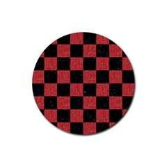 Square1 Black Marble & Red Denim Rubber Coaster (round)  by trendistuff