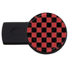 Square1 Black Marble & Red Denim Usb Flash Drive Round (2 Gb) by trendistuff