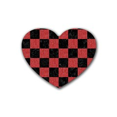 Square1 Black Marble & Red Denim Rubber Coaster (heart)  by trendistuff