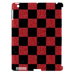 Square1 Black Marble & Red Denim Apple Ipad 3/4 Hardshell Case (compatible With Smart Cover) by trendistuff