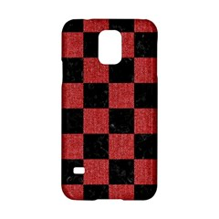 Square1 Black Marble & Red Denim Samsung Galaxy S5 Hardshell Case  by trendistuff