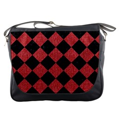 Square2 Black Marble & Red Denim Messenger Bags by trendistuff