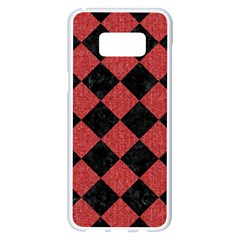 Square2 Black Marble & Red Denim Samsung Galaxy S8 Plus White Seamless Case