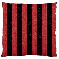 Stripes1 Black Marble & Red Denim Large Cushion Case (one Side) by trendistuff
