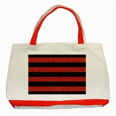 Stripes2 Black Marble & Red Denim Classic Tote Bag (red)