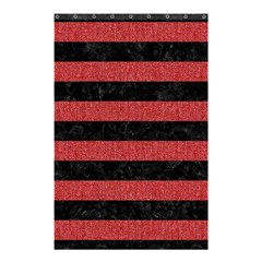 Stripes2 Black Marble & Red Denim Shower Curtain 48  X 72  (small)  by trendistuff