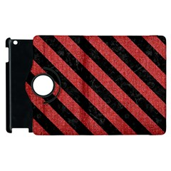 Stripes3 Black Marble & Red Denim Apple Ipad 3/4 Flip 360 Case by trendistuff