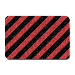 Stripes3 Black Marble & Red Denim (r) Plate Mats by trendistuff