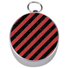 Stripes3 Black Marble & Red Denim (r) Silver Compasses by trendistuff