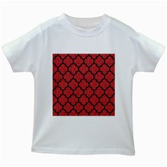 Tile1 Black Marble & Red Denim Kids White T Shirts