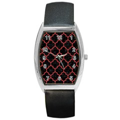 Tile1 Black Marble & Red Denim (r) Barrel Style Metal Watch by trendistuff