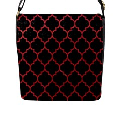 Tile1 Black Marble & Red Denim (r) Flap Messenger Bag (l)  by trendistuff