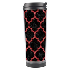 Tile1 Black Marble & Red Denim (r) Travel Tumbler by trendistuff