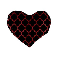 Tile1 Black Marble & Red Denim (r) Standard 16  Premium Flano Heart Shape Cushions by trendistuff