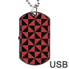Triangle1 Black Marble & Red Denim Dog Tag Usb Flash (two Sides) by trendistuff