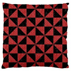 Triangle1 Black Marble & Red Denim Large Cushion Case (two Sides) by trendistuff