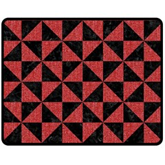Triangle1 Black Marble & Red Denim Double Sided Fleece Blanket (medium)  by trendistuff