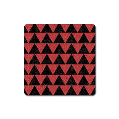 Triangle2 Black Marble & Red Denim Square Magnet