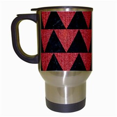 Triangle2 Black Marble & Red Denim Travel Mugs (white) by trendistuff