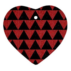 Triangle2 Black Marble & Red Denim Heart Ornament (two Sides) by trendistuff