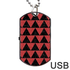 Triangle2 Black Marble & Red Denim Dog Tag Usb Flash (two Sides) by trendistuff