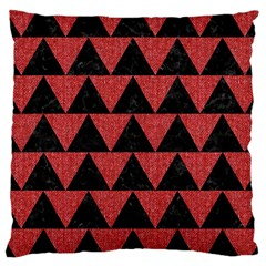 Triangle2 Black Marble & Red Denim Large Cushion Case (two Sides) by trendistuff