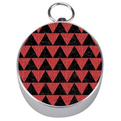 Triangle2 Black Marble & Red Denim Silver Compasses by trendistuff