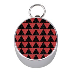 Triangle2 Black Marble & Red Denim Mini Silver Compasses by trendistuff