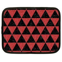 Triangle3 Black Marble & Red Denim Netbook Case (large) by trendistuff
