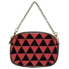 Triangle3 Black Marble & Red Denim Chain Purses (two Sides)  by trendistuff
