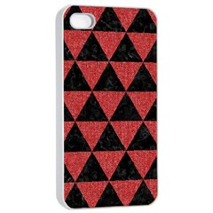 Triangle3 Black Marble & Red Denim Apple Iphone 4/4s Seamless Case (white) by trendistuff